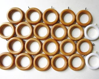 Wood Drapery Rings with Eyelet, Vintage Lot of 22