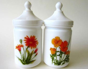 2 Milk Glass Apothecary Jars with Wildflowers, Vintage France