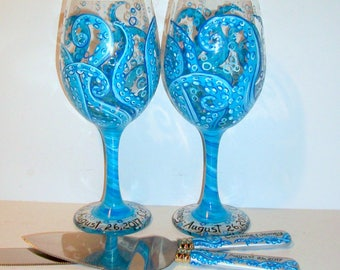 Octopus Tentacles Hand Painted on 2 - 20 oz. White Wine Glasses & Cake Knife and Server Set  Aqua Blue Wedding Glasses Ocean Theme Beach