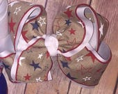 SALE SSD Natural Canvas Stars Red White Navy Blue Hair Bow