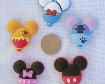 Disney Inspired Character Balloons Rubber PVC Bow Center Magnet Badge Reel Accessories