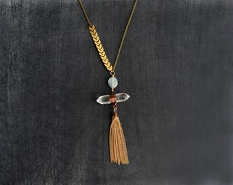 Long Tassel Necklace, Kyanite And Crystal Pendant