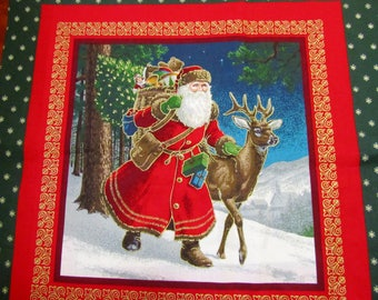 """SANTA PiLLOW PANELS Quilt Squares St Nick Holiday Christmas Cotton Fabric 35"""" x 44"""""""