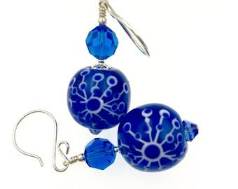 Abstract Earrings, Cobalt Blue Lampwork Earrings, Artisan Earrings, Glass Bead Jewelry, Unique Handmade Earrings, Blue and White Earrings