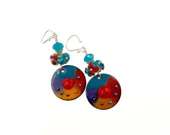 Multicolor Red Blue Orange Lampwork Enamel Earrings