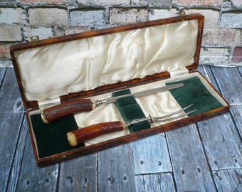 Vintage Carving Set Made In England Stainless Fork, Forged Sharpening Steel