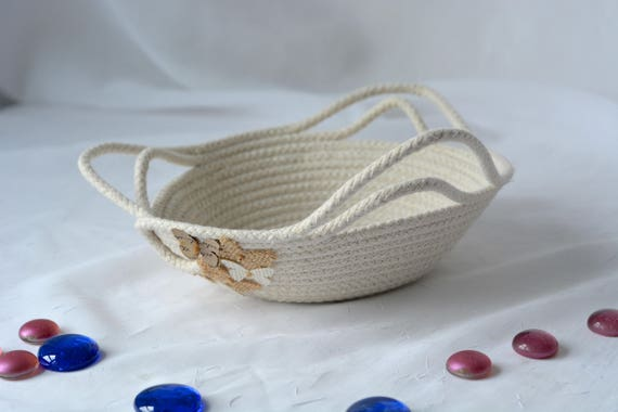 Rustic Desk Accessory Bowl, Handmade Butterfly Basket, Modern Clothesline Basket, Primitive Rope Ring Dish, hand coiled natural rope basket