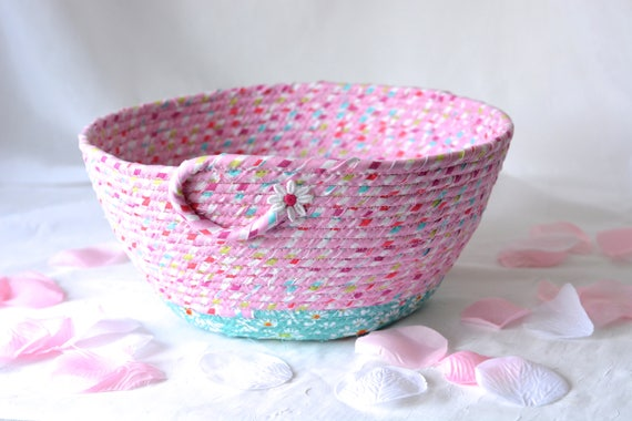 Pink Girl Basket,  Home Decor Basket, Handmade Fabric Basket, Pink Wedding Basket, Pink Bathroom  Towel Holder
