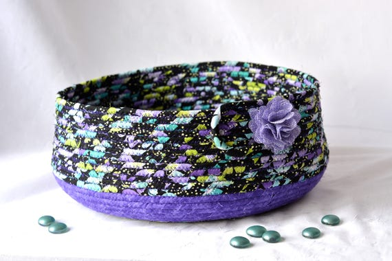Handmade Cat Bed, Hand Coiled Pet Bed, Purple Fabric Basket, Modern Cat Bed, Dog Bed, Purple and Lavender Fabric Bowl