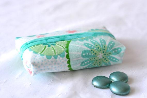 Easter Basket Filler, Kleenex Pocket Tissue Holder, Handmade Travel Tissue Case, Lovely Party Favor, Purse Pouch, Aqua Case