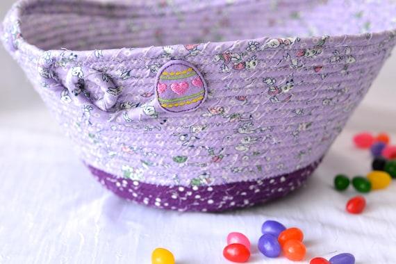 Girl Easter Basket, Handmade Flower Girl Basket, Lavender Easter Decoration, Easter Egg Hunt Bag, Purple Violet Easter Bucket
