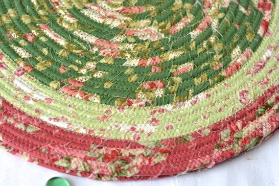 """Easter Place Mats, 2 Handmade Floral Trivets, 14"""" Artisan Quilted Trivets, Artisan Hot pads, Shabby Chic Hostess Gift,  Coiled Potholder"""