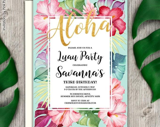 Aloha Tropical Floral Hibiscus Luau Birthday Party Invitation, Aloha Birthday Invitation, Hibiscus Birthday Printable Invitation