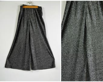 Vintage Palazzo Pants Black and Silver Metallic Lurex Wide Leg Hostess Pants Elastic Waist Size Large