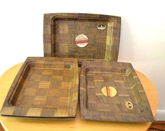 Mid Century Weavewood Walnut Trays - Set of 4