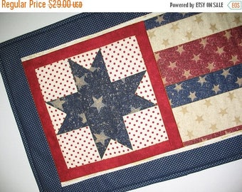 Sale Christmas in July July 4th Wall Hanging or Table Runner, handmade quilt - Patriotic Year Round Independence Day Stars and Stripes