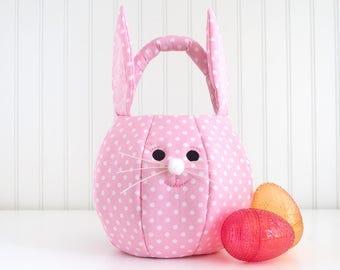 Easter Bunny Basket, Personalized Easter Basket for Girls, Easter Bunny Bag, First Easter Basket, Easter Tote Bag, Egg Hunt Basket