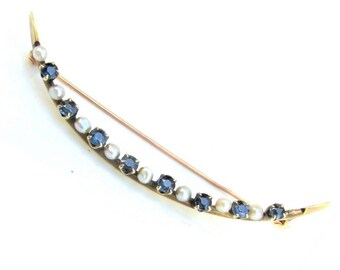 Antique Victorian Sapphire & Seed Pearl 10K Gold Half Moon Brooch Pin Estate Jewelry
