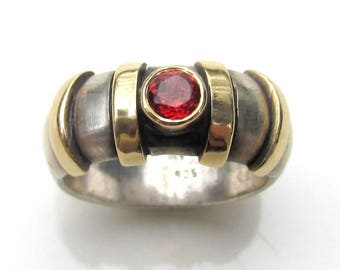 14k Yellow Gold & Sterling Silver Ring with Pyrope GARNET sz 7.5 ESTATE JEWELRY