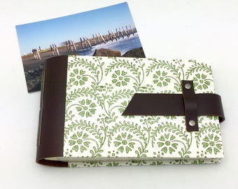 Mini Photo Album, Leather and Tuscan Print in Green, holds 48 4x6 photos, In Stock