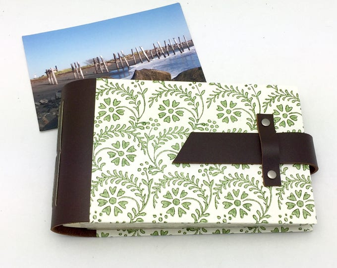 Mini Photo Album - Leather and Tuscan Print - holds 48 4x6 photos