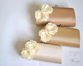 Beige, Latte, Vanilla - Neutral Colored clutch with Ivory flowers - Bridal Clutch / Bridesmaids clutch / Prom clutch / Custom Clutch