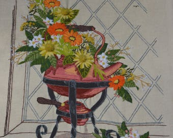 Completed Crewel Embroidery Panel  - Flowers in Teapot - Paragon #1014 - 1975 - Ready for Framing - N