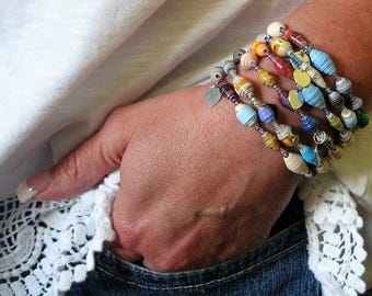 Paper bead bracelet - paper bead jewelry - basic beaded bracelet- ladies bracelet - paper jewelry