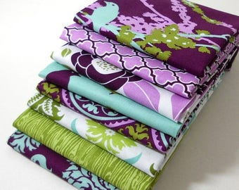 SALE 10% Off - Fabric Bundle 8 FQs - Aviary 2 by Joel Dewberry  for Free Spirit - Lilac Palette - FAT QUARTER Bundle of 8