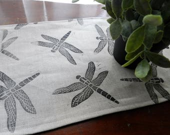 Table Runner Dragonfly Print on Linen. Hand printed table linens. Summer table setting. Ready to ship.  Natural Home Decor. Block Printed.