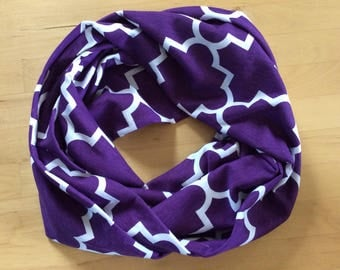 jersey knit infinity scarf - purple and white quatrefoil