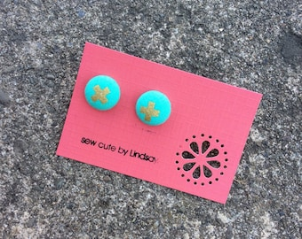 Covered Button Earrings - cotton and steel XOXO - aqua with  metallic gold X
