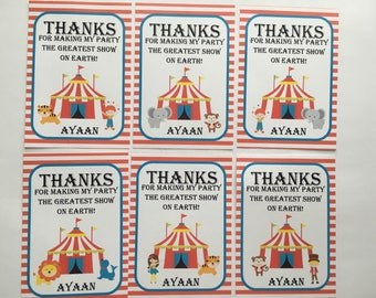 CIRCUS Birthday Party Favor Gift Tags