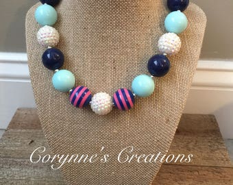 Chunky Bubblegum Bead Necklace with Navy and Mint Beads