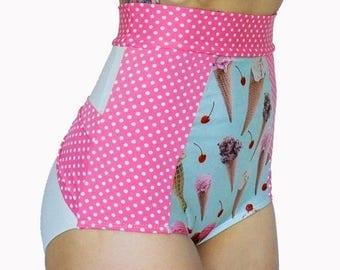 ON SALE High Waisted Bikini Retro Bikini Ice Cream and Polka Dot Bow Butt Plus Size Swimsuit McLaineO  Xs-Xxl Full Cover Modest