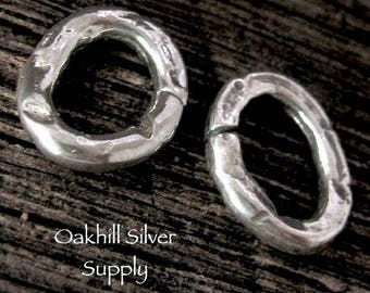 1 Large Sterling Silver Rustic Jump Ring - Oval Chunky - OPEN  12mm Rustic Links  - AC138a