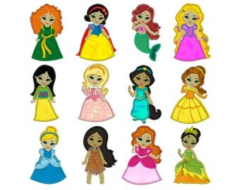 PRINCESSES 1 - Machine Applique Embroidery - Patterns - Instant Digital Download