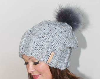 Fur Pompom Beanie Fur Pompom Slouchy Beanie Hat Chunky Women Hat Winter Hat CHOOSE COLOR Gray Marble Chunky Christmas Gift under 100