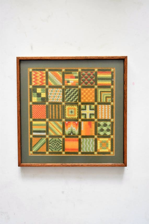 large green needlepoint crewel granny square wall hanging art / threadwork