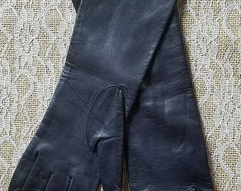 Ladies Vintage Longer Length Navy Blue Leather Gloves Size Small