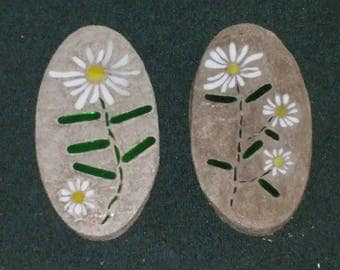 Two Small Oval Mosaic White Daisies Stones