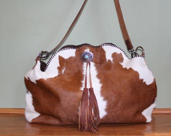 Calfhide and Distressed Leather Bag