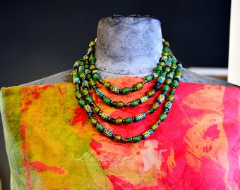 Green Layered Necklace,Green African jewelry,Green Beaded Necklace