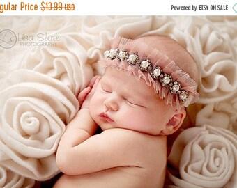 12% off Sparkly pearl rhinestone crown newborn headband, adult headband, child headband and photography propSprinkled Victorian trim headban