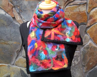Wide nuno felt scarf: Multi color abstract flower garden fiber painting