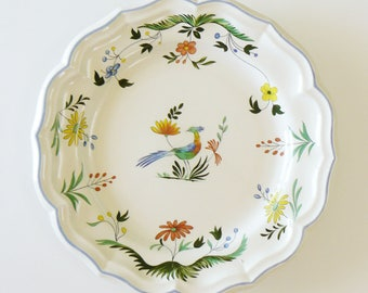 Gien France Oiseaux De Paradis Large Round Serving Dish Platter Bowl 12""