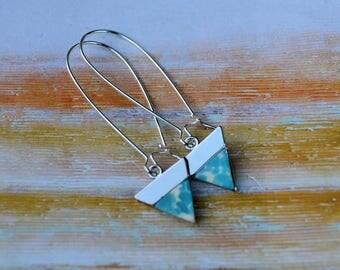 Sky's The Limit Triangle Blue Earrings-wedding, bridesmaid, beach wedding, gift idea, anniversary, push present, anniversary gift, hostess