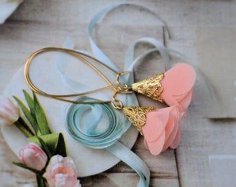 Petal Pink Silk Rose Petal Pixie Hat Featherweight Earrings-wedding, bridesmaid, something blue, summer jewelry, flower earrings, hostess