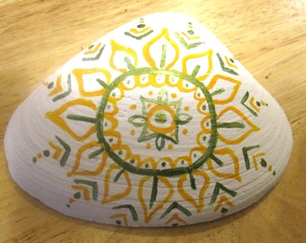 Green & Gold Henna painted Maine clam shell