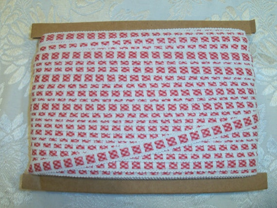 "4  Yards 3/8"" wide  Red Gingham Insertion Crochet Trim for  Doll Clothes"